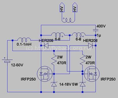 Простые схемы мощностью до 1КВт.  Двухтактные автогенераторы на полевиках.  Що маємо те маємо, чого не маємо те...